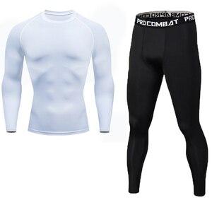 Image 3 - New Fitness Mens Set Pure Black Compression Top + Leggings Underwear Crossfit Long Sleeve + Short Sleeve T Shirt Apparel Set