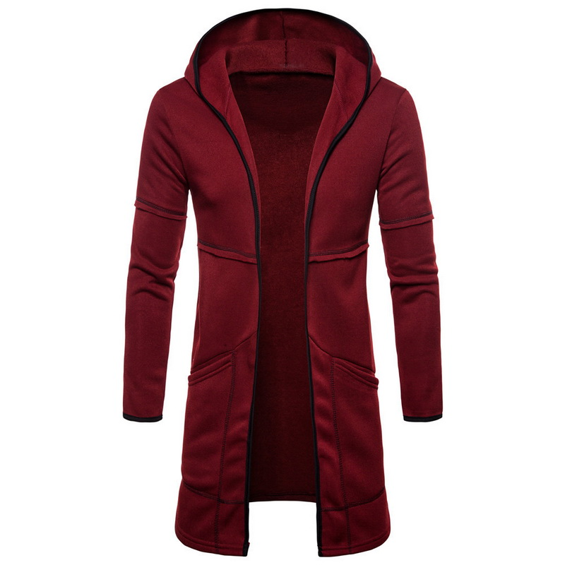 2019 Men's Fashion Solid Color Warm Knee Length Hooeed Fleece Lining Top Coat  Slim Fit Coat Winter Warm