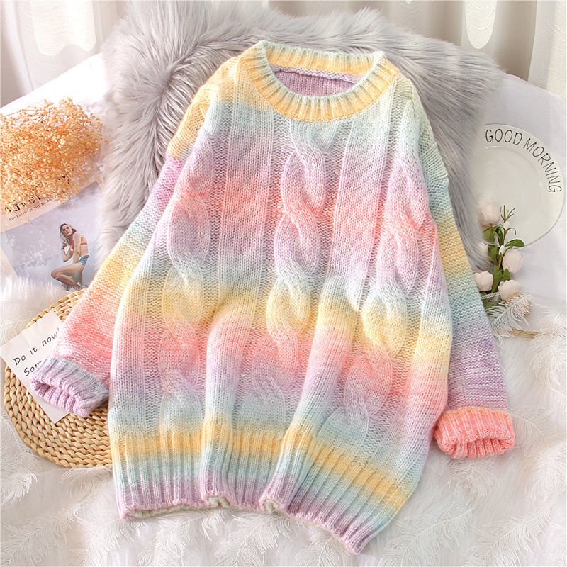 Autumn Winter Women Rainbow Sweaters Tie Dye Pullover O Neck Long Loose Striped Korean Jumpers Candy Color Oversized Female Tops