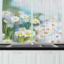 Cortinas de cocina de flores, cama de camomiles inspirada Retro con Moda Antigua cortina de ventana de crecimiento Vintage para la decoración de la cafetería de la cocina