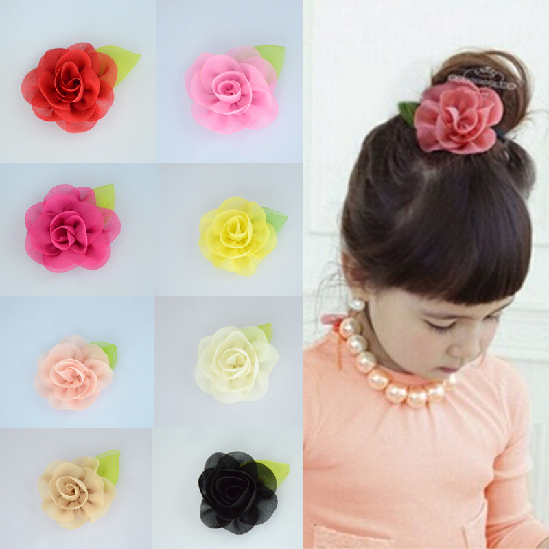 10pcs/lot Sweet Solid Chiffon Fabric Flower Hair Clips Girl's Headdress Hair Accessories Children Fashionable Hairbows Barrettes