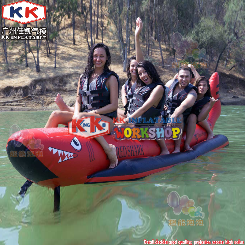 Hot Selling Red Shark Inflatable Banana Boat For Promotion / Inflatable Double Tubes Flying Fish Boat