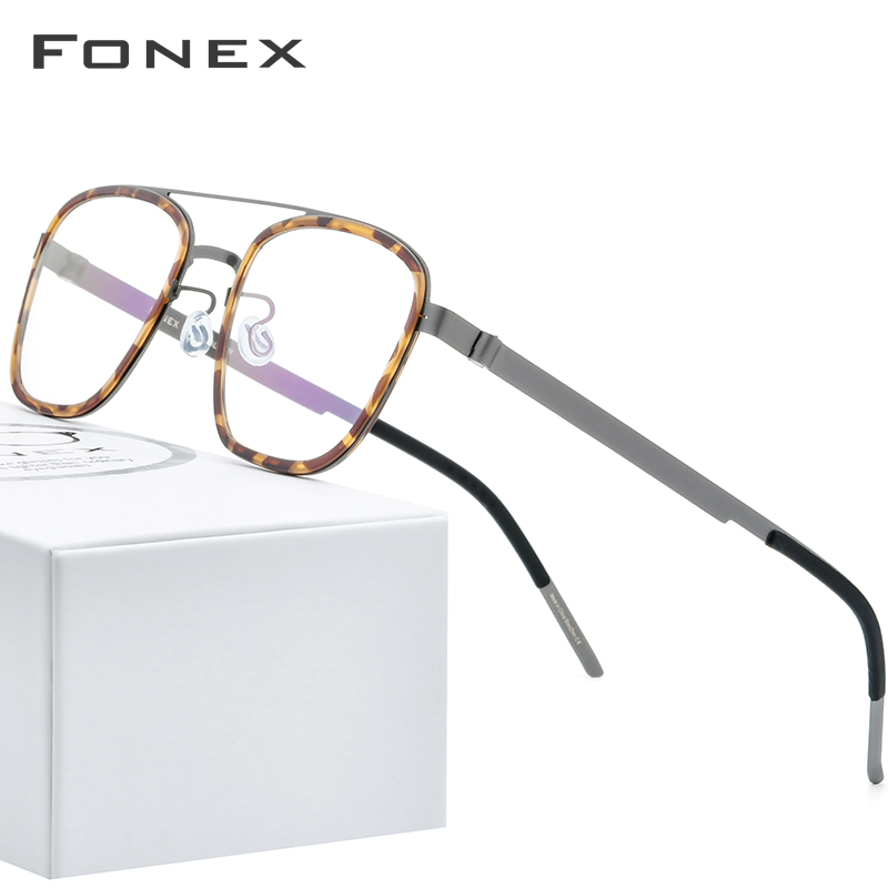 FONEX Acetate Alloy Glasses Frame Men Women Vintage Square Myopia Optical Frames Prescription Eyeglasses Screwless Eyewear 98628