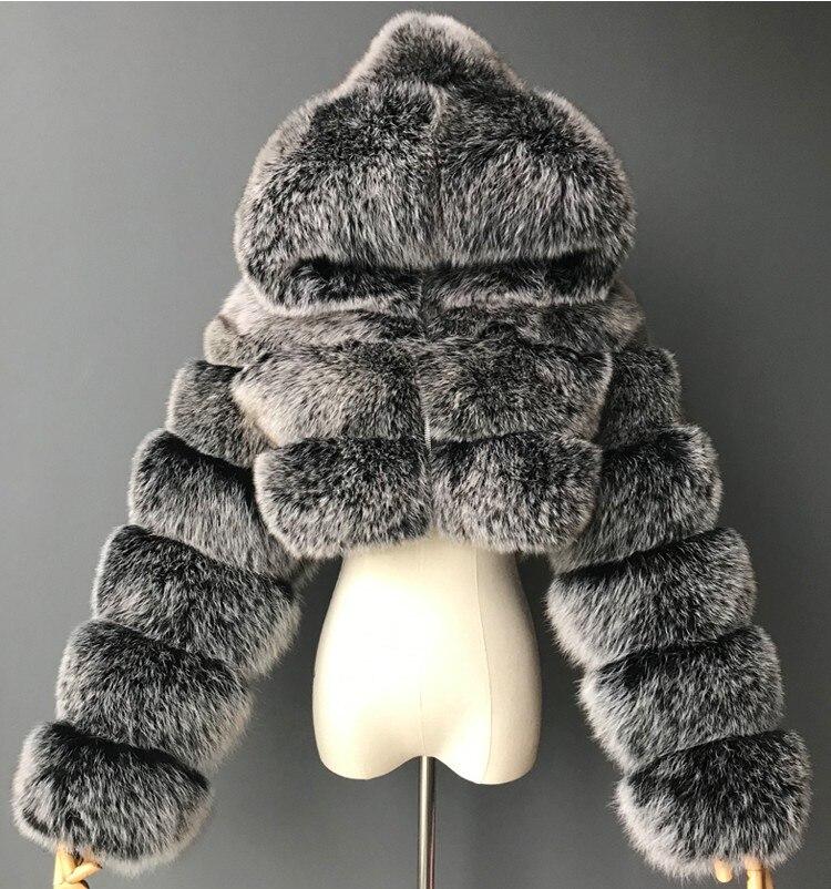 Moda outono inverno de alta qualidade do falso casaco de pele das mulheres 2020 vintage manga longa com boné fino curto jaquetas peludo casaco femme