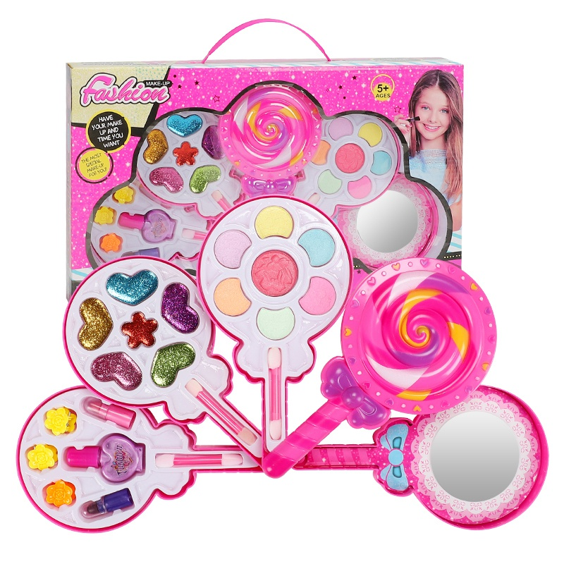 Children's Non-Toxic Lollipop  Cosmetics Beauty Toys Pretend Play Girls Princess Makeup Box Set