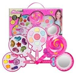 Crianças não-tóxico lollipop cosméticos brinquedos de beleza fingir jogar meninas princesa caixa de maquiagem conjunto