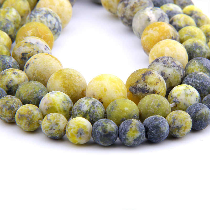 Natural Stone Yellow Turquoises Frosted  Gem stone Beads Matte Round Beads  4 6 8 10 12MM For Jewelry Making Fit DIY Bracelet