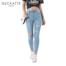 цена на GECKATTE High Waisted Skinny Jeans Female Elastic Denim Plus Size Boyfriend Jeans Woman Mom Ripped Jeans Pencil Pants Mujer
