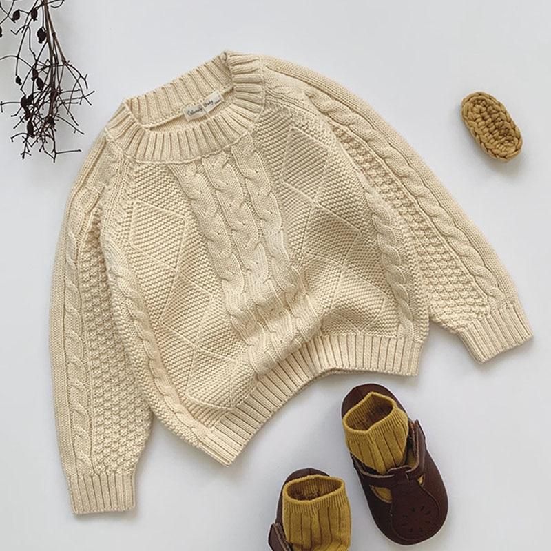 Winter Baby Kids Boys Girls Pullover Sweaters New 2021 Autumn Kids Boys Girls Long Sleeve Knit Hemp Flowers Sweater 3