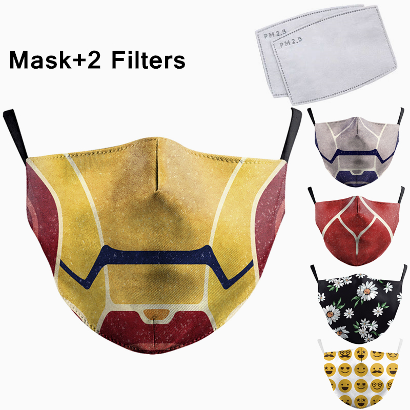 Fashion Reusable Mask Protective PM2.5 Filter Printing Mouth Mask Anti Dust Face Mask Windproof Mouth-muffle Bacteria Proof Flu