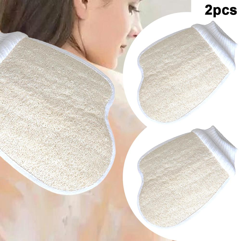 2Pcs Loofah Gloves Natural Loofah Bath Brushes Washing Pad Body Scrubber Exfoliator Bath Shower Sponge Bathroom Accessories