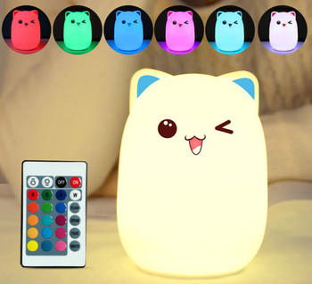 Touch Sensor Colorful Cat LED Night Light Remote Control RGB Silicone USB Rechargeable Bedroom Bedside Lamp for Children Baby baby bedside rgb lights lamp smart night lights xiaomi yeelight indoor desktable lamp touch control bluetooth for phone