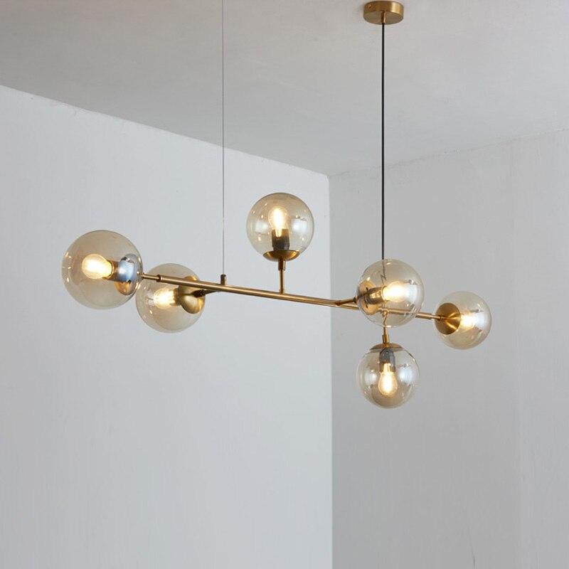 Lustre moderne en laiton boule de verre éclairage pour salon salle à manger Art décoration Restaurant noir suspension lampe maison Lustre