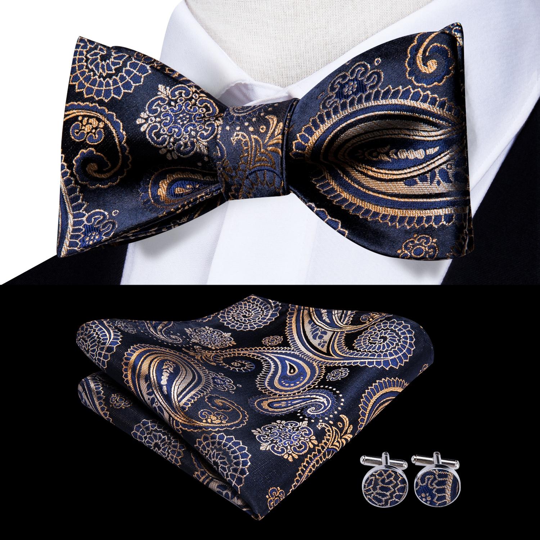 Lujo 100/% Seda negra Self corbata pajarita