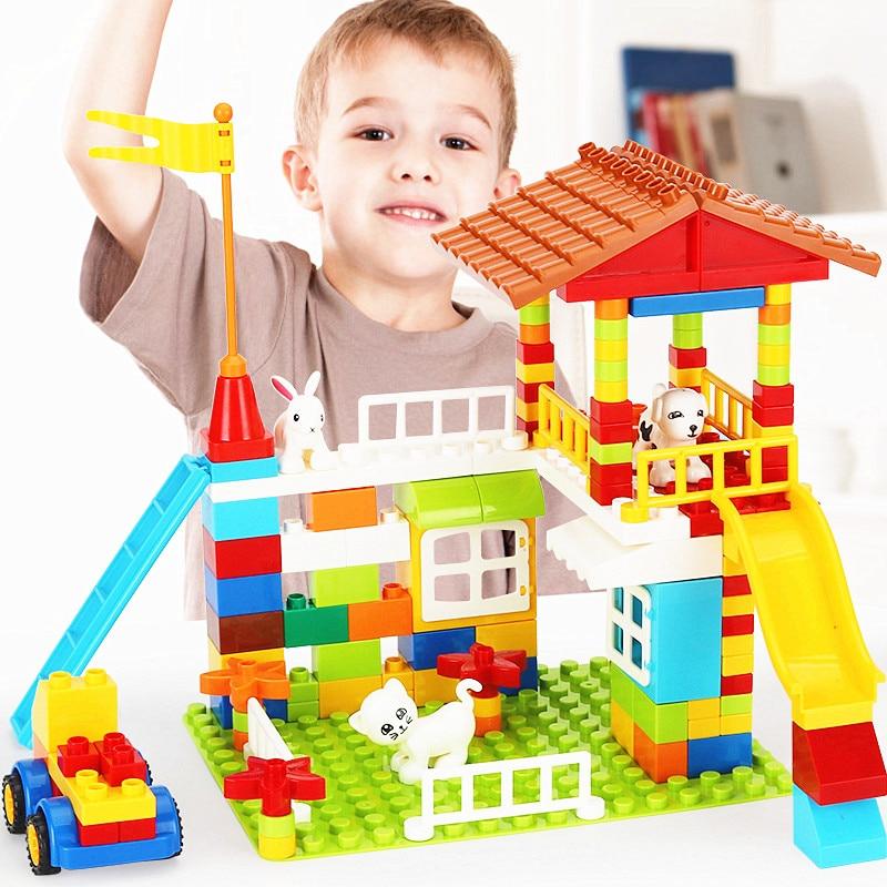 150PCS 300PCS New Kids Juguetes DIY Educational Birthday Gift Animals Figure House Toys Hollow Blocks Duplo For Children Game
