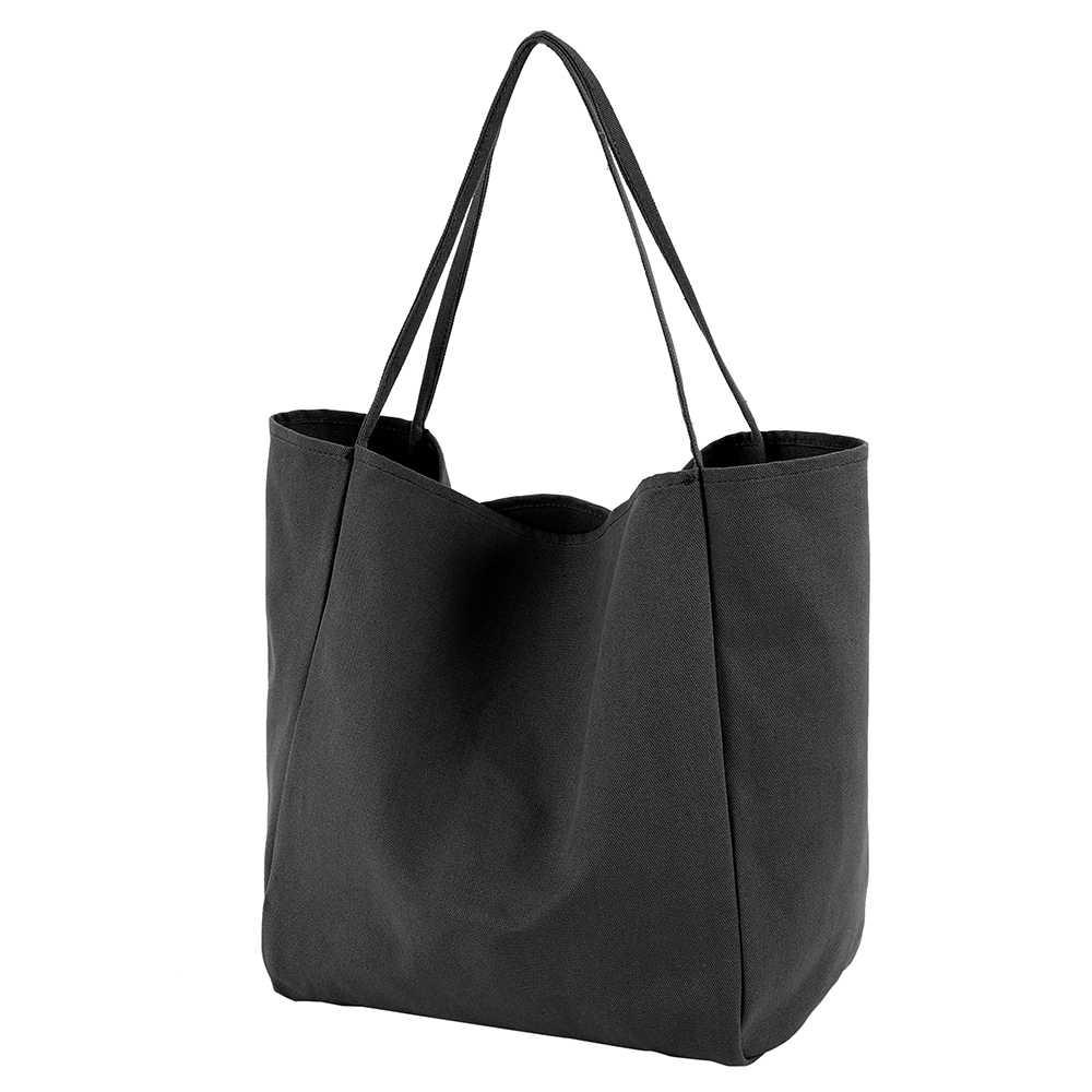 Bolso de compras de lona grande para mujeres jóvenes reutilizable Soild Extra grande bolsa de supermercado Eco medio ambiente Shopper bolsos de hombro