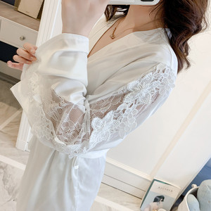 Image 3 - Lace Hollow Out Women Robe Set Satin With Chest Pad Spaghetti Strap Cardigan Set Sleepwear