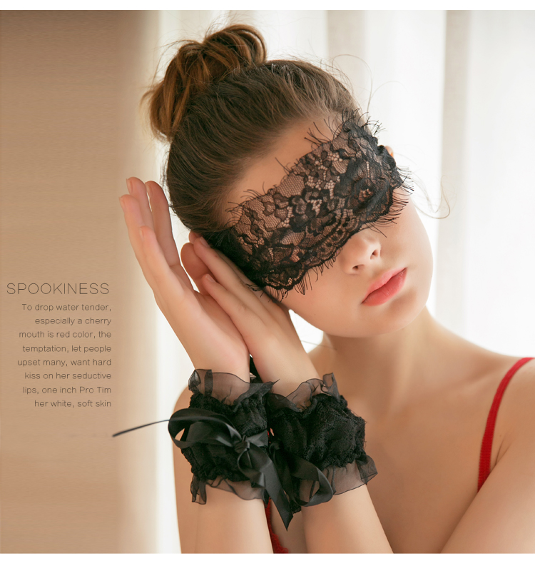 Sexy Lingerie Accessories Black Sexy Lace Bow Bracelet And Eye Mask Set