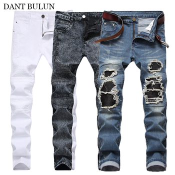 Fashion Men's Ripped Jeans Skinny Slim Fit Pleated Denim Pant Distressed High Street Biker Jeans Straight Male Brand Trousers mcckle mens ripped skinny jean trousers streetwear pleated black distressed biker jeans pants male fashion denim joggers