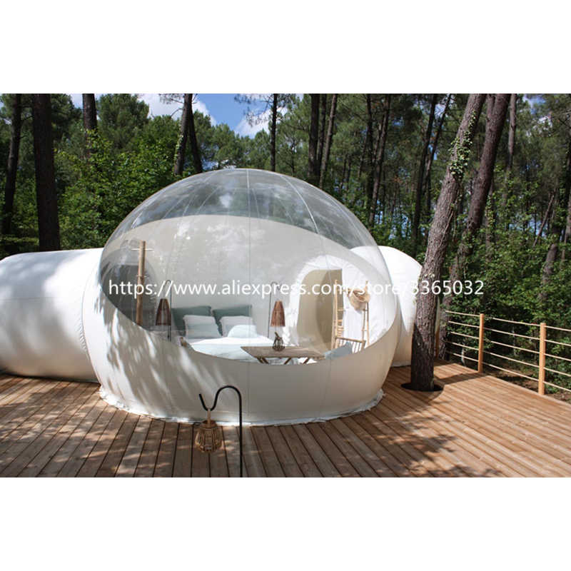 Komersial Kualitas Tinggi Harga Murah PVC Inflatable Gelembung Bening Dome Transparan Camping Tenda dengan 2 Terowongan
