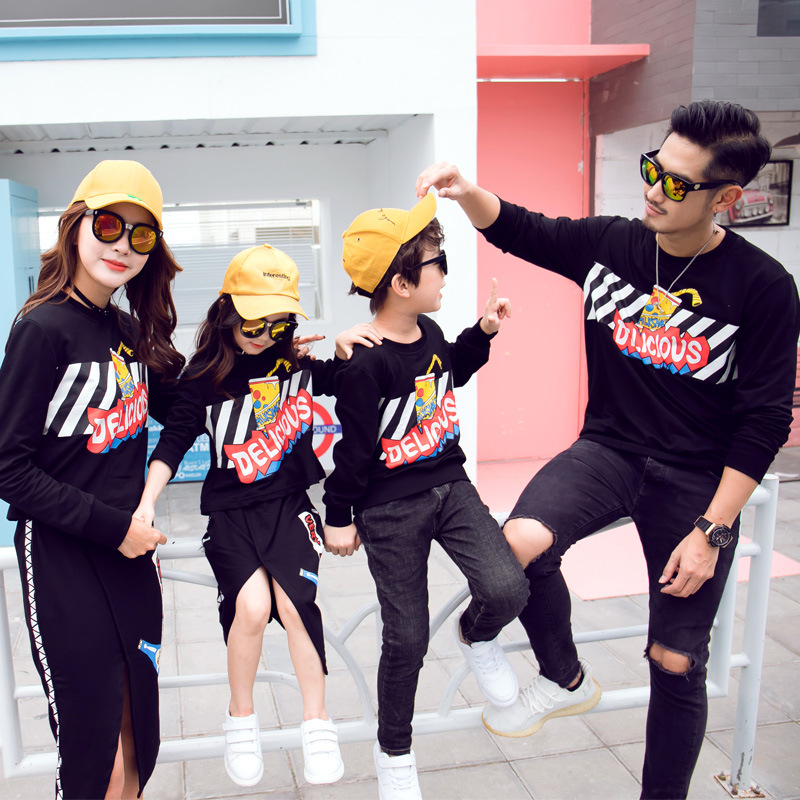 Matching Family Outfits 2019 Autumn And Winter Mother And Daughter Split Skirt Sweater Suit Dad Son Sweatshirts Kids Clothes