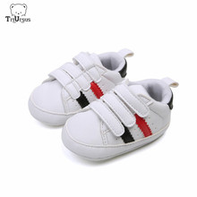 Triursus Baby Boys Girls Sports Shoes Striped Toddler Sneakers Hook And Loop Newborn Baby First Walkers Size 1 2 3 4 5 6 7 8 9