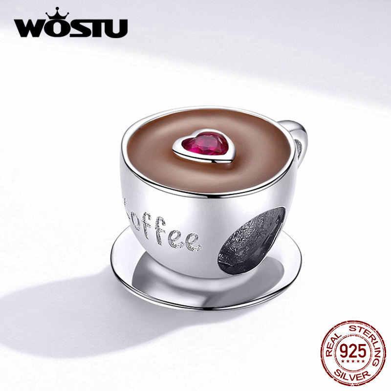 WOSTU Hot Koop Real 925 Sterling Zilver Leuke Hart Koffiekopje Kralen Fit Originele Zilveren Bedelarmband Sieraden CQC1286