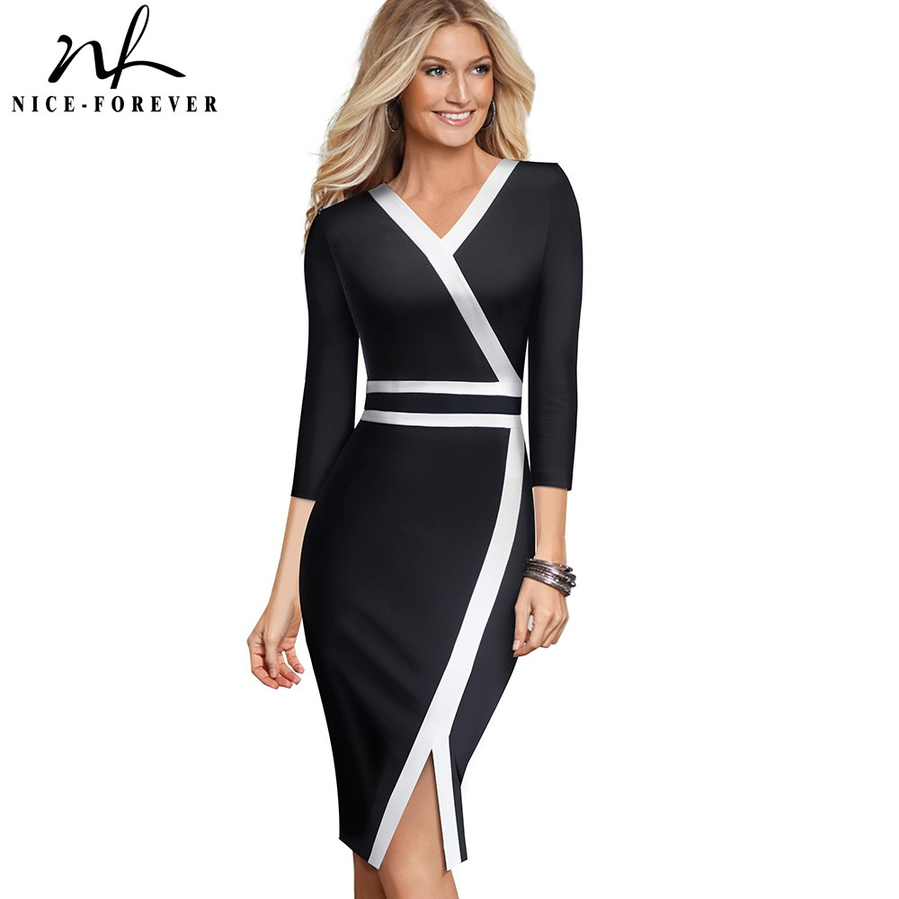 Nice-forever Vintage Black And White Patchwork Office Work Vestidos Business Party Bodycon Elegant Women Autumn Dress B563