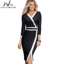 素敵な 永遠にヴィンテージ黒と白のパッチワークオフィスワークvestidosビジネスパーティーボディコンエレガント女性秋ドレスB563