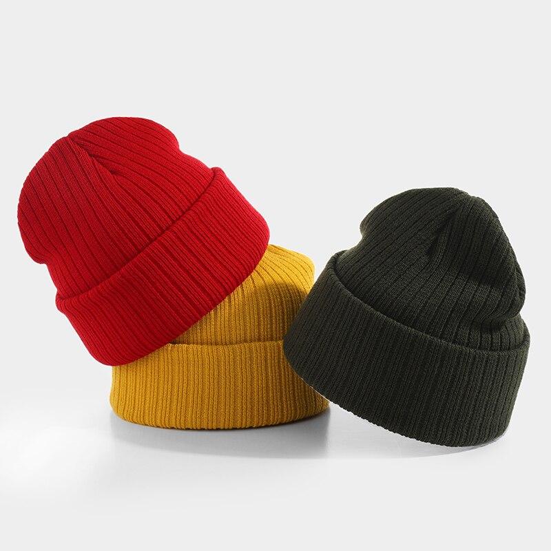 Solid Color   Beanies   Women Winter Hats Unisex Knitted Cap Men Brimless Bonnet Casual Cuffed Soft Autumn Ladies Warm   Beanies