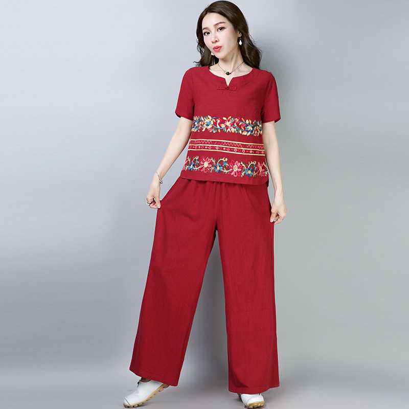 2019 New Style Ethnic-Style Cotton Linen Machine Embroidery Loose Tops Loose Pants Set
