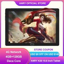 ANRY – tablette Pc de jeu K30 de 10.6 pouces, avec Android 8.1, Deca Core, 4G, appel téléphonique, 128 go de ROM, 4 go de RAM, Dual Band, Wifi 2.4G/5G, type-c