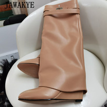 Wedge Heel Riding-Boots Runway Jawakye-Layer Shark-Lock Designer Women's Party-Dress