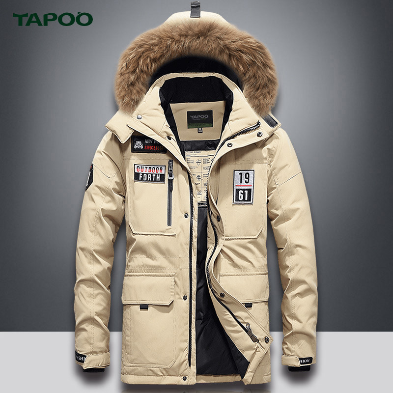 Tapoo MEN'S Down Jacket Mid-length Thick White Duck Down Winter Warm Hooded Large Fur Collar Coat Men's