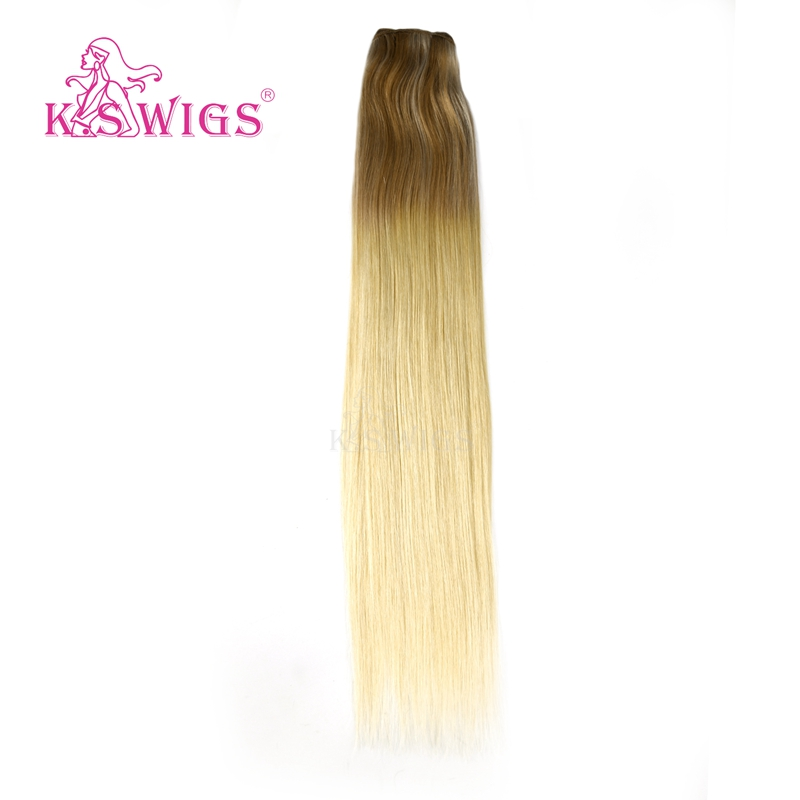 K.S WIGS 22'' Double Drawn Hair Weft Extensions 100% Remy Human Hair Hair Weave Caramle & Cream Balayage Color 100g/pc