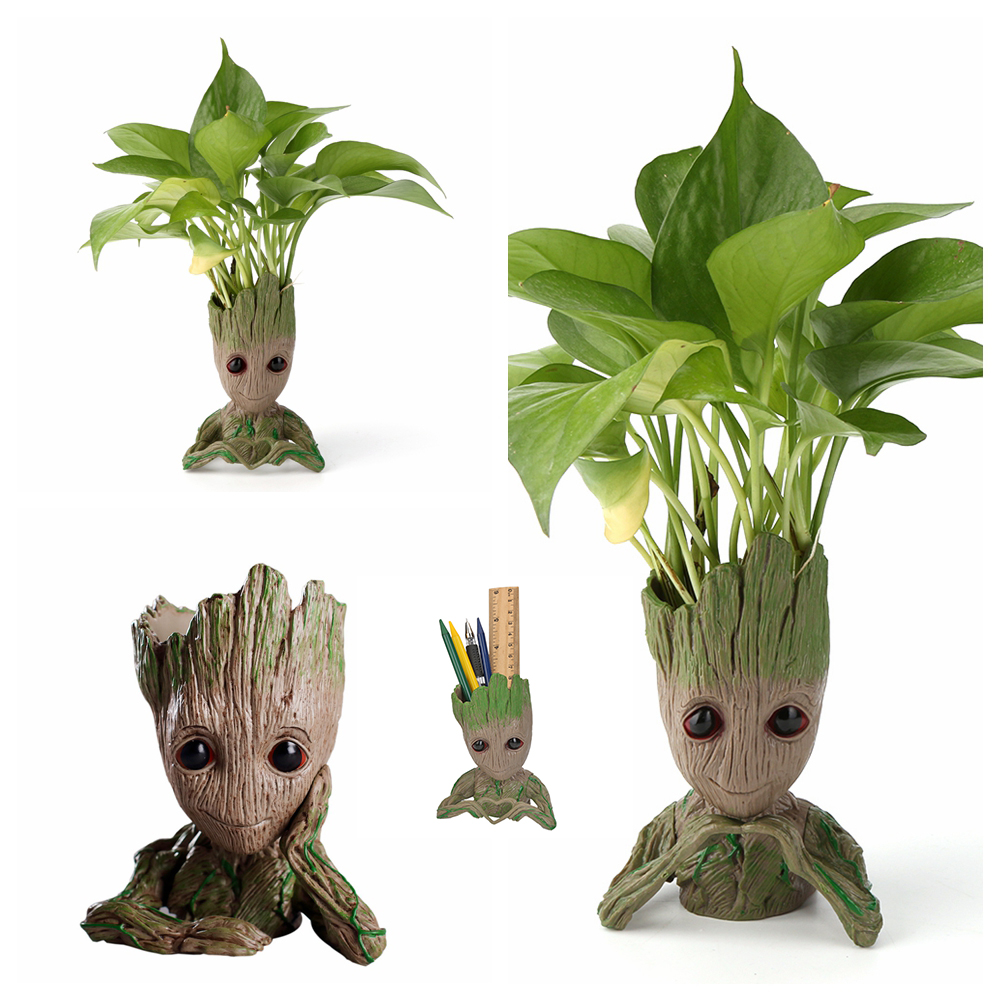 Vinyl Baby Groot Flowerpot Tree Man Flower Pot Planter Action Figures Toy Cute Model Toy Pen Pot Christmas Gift Home Table Decor