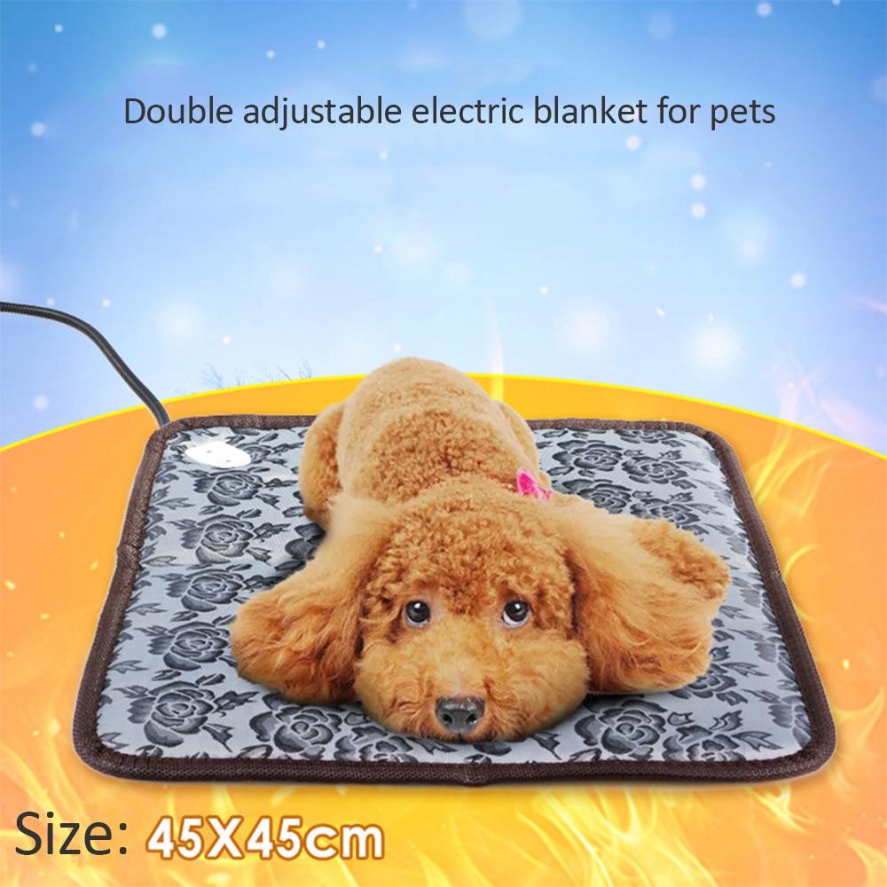 Pets Electric Bed Mat Soft Warm Fleece Paw Print Pet Puppy Dog Cat Blanket Bed Mat