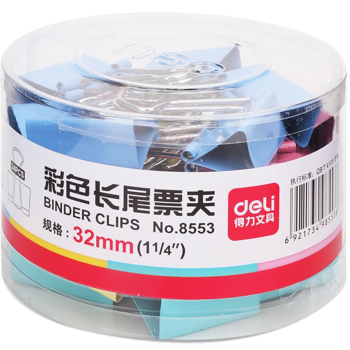 Wholesale Deli 8553 Color Binder Clip Barreled 32 Size Color Ticket Clips 24/Tube