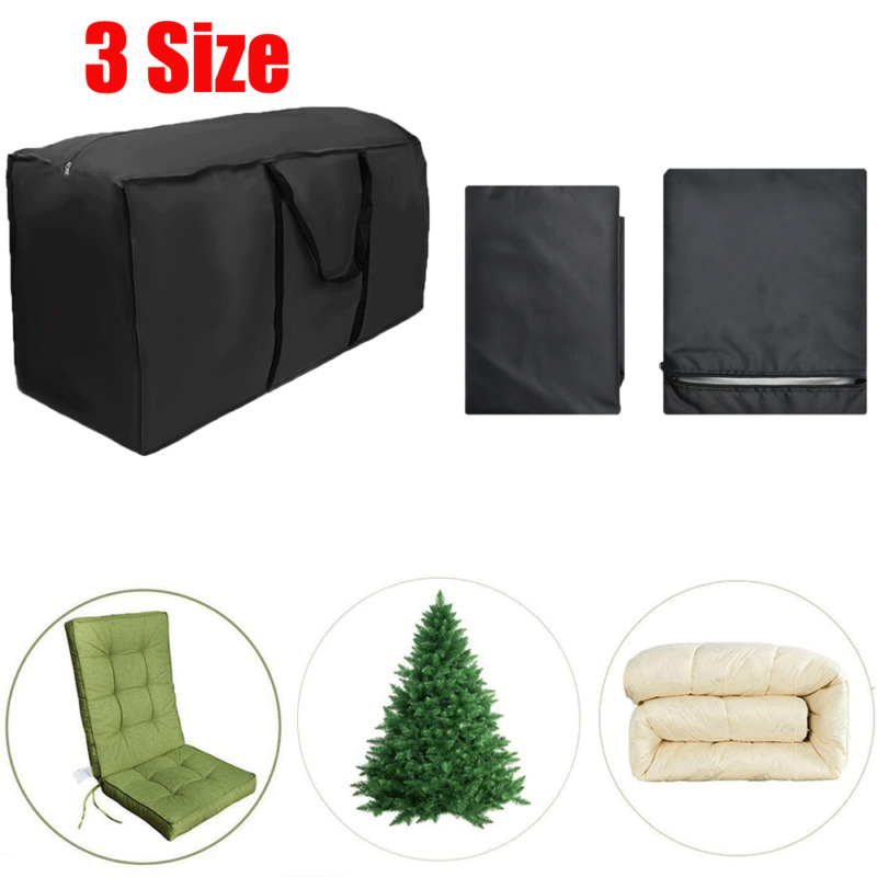 Heavy Patio Cushion Storage Bag Zippered Water Resistant Cover Furniture Storage