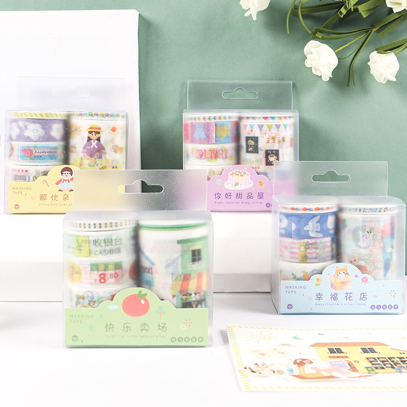 Mohamm 6PCS In Today's Business Series Kawaii Cartoon Washi Masking Tape Paper Scrapbooking Stationery Decorative Tape