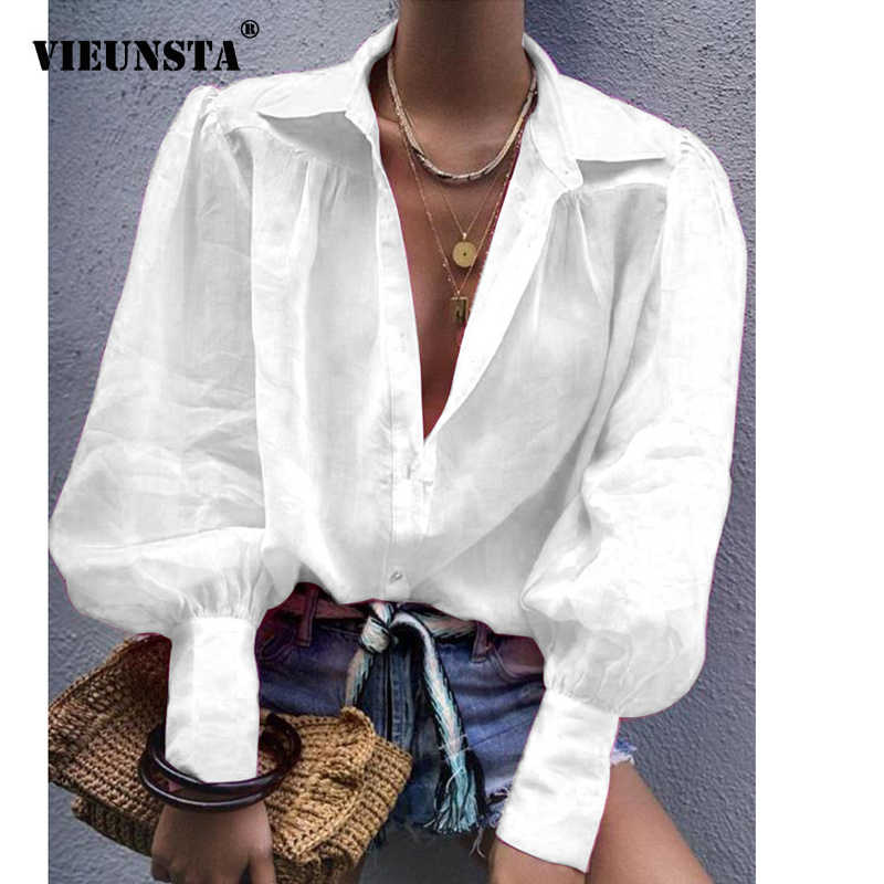 VIEUNSTA Autumn Sexy Notched Collar Elegant Office Ladies Blouse Women Lantern Long Sleeve Loose Shirt Solid Button Tops Blouses