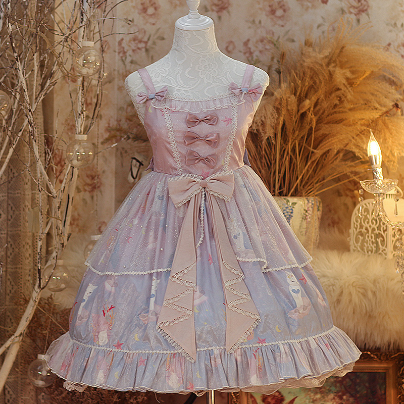 Princess Tea Party Sweet Lolita Dress Retro Lace Bowknot High Waist Cute Printing Victorian Dress Kawaii Girl Gothic Lolita Jsk