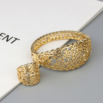Sunspicems Gold Color Arabic Hollow Bangle Ring Sets for Women Moroccan Wedding Jewelry Algeria Cuff Bracelet Bridal Gift 1