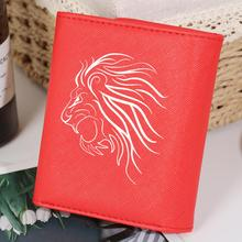 Abstract Sketch Lion Pattern Wallets Women PU Leather Purse Internal Zipper Coin Pocket Short Fold Wallet monederos para mujer