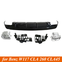 One set of Glossy Black Car Rear Bumper Diffuser for Mercedes Benz C117 W117 CLA200 CLA260 CLA45 AMG Package of 2016 2019