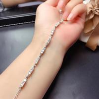 newest moissanite women bracelet with shiny gemstone real 925 silver platinum plated GRA certificate girl birthday gift