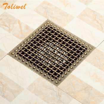 15 x 15 Square Bathroom Shower Drain Floor Drain Trap Waste Grate Antique Brass Grid Drain 24 long floor drain stainless steel bathroom shower square floor waste grate sanitary pop up drain