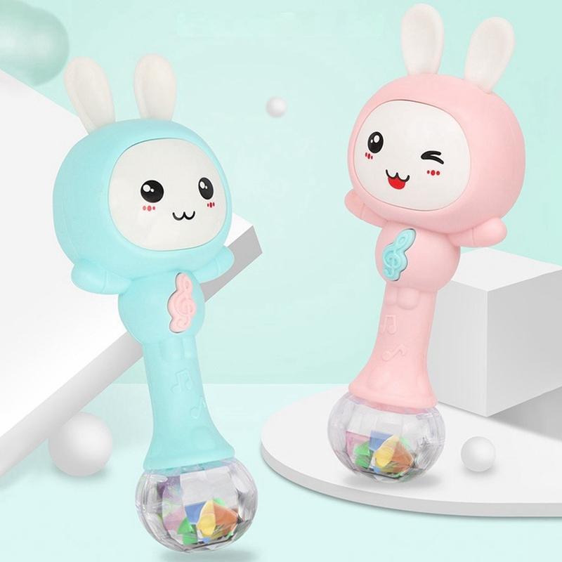Newborn Infant Early Educational Baby Toys 0-12M Musical Flashing Baby Rattles Infant Hand Bells Cute Rabbit Hand Bell