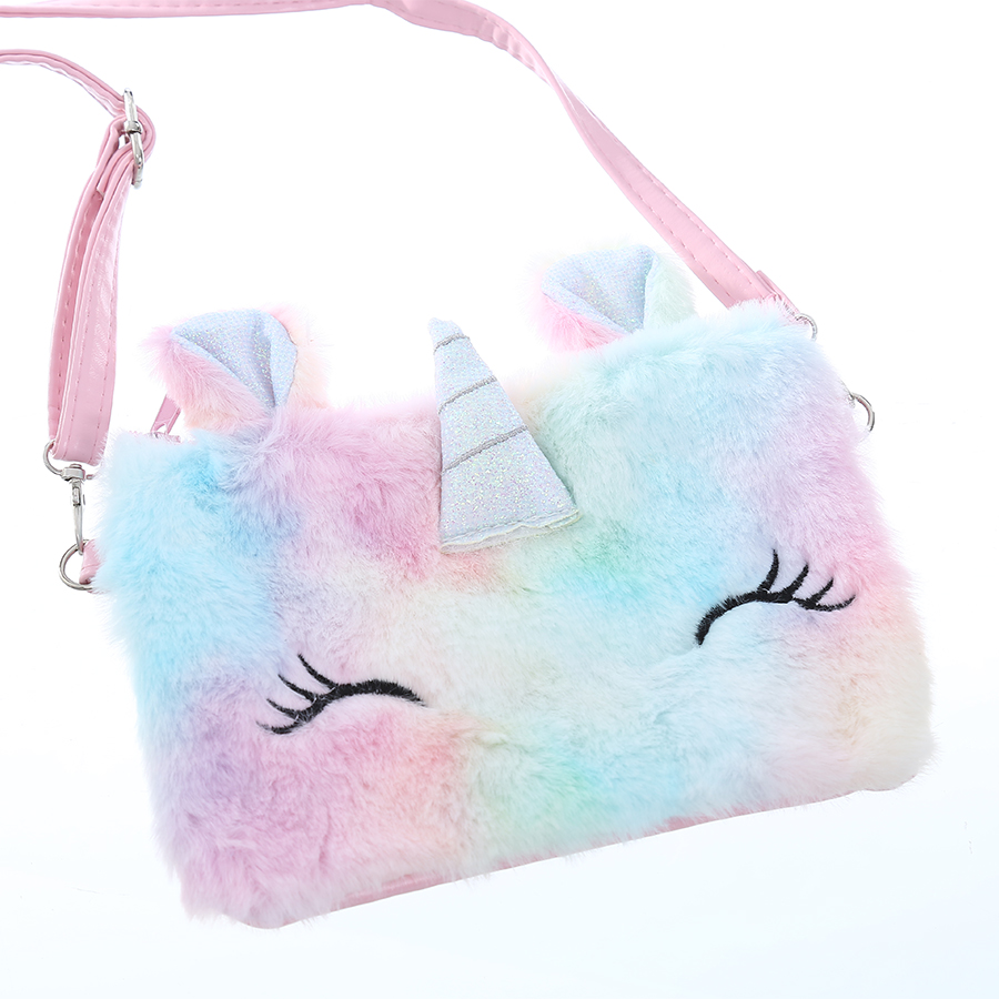 Student Belt Zipper Cartoon Unicorn Shoulder Bag Girl Preppy Style Plush Crossbody Bag For Phone Square Rainbow Fur Flap Purse