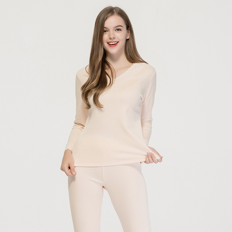 100% Silk Women Autumn Winter Brushed Thermal Underwear Set Female V-neck Thickening Plus Velvet Bottoming Long Tops And Pants